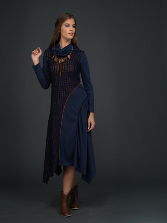 Accort Giyim Lacivert Elbise