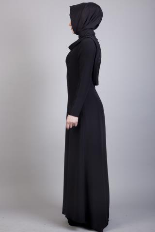 Armine Siyah Tesettür Elbise