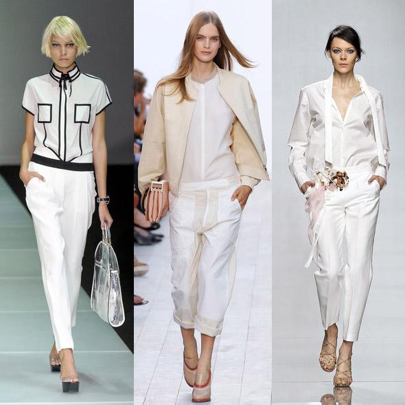 Beyaz bayan pantolonları
