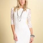 Beyaz mini dantelli kısa elbise