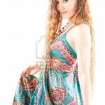 Desenli dekoltesiz uzun elbise