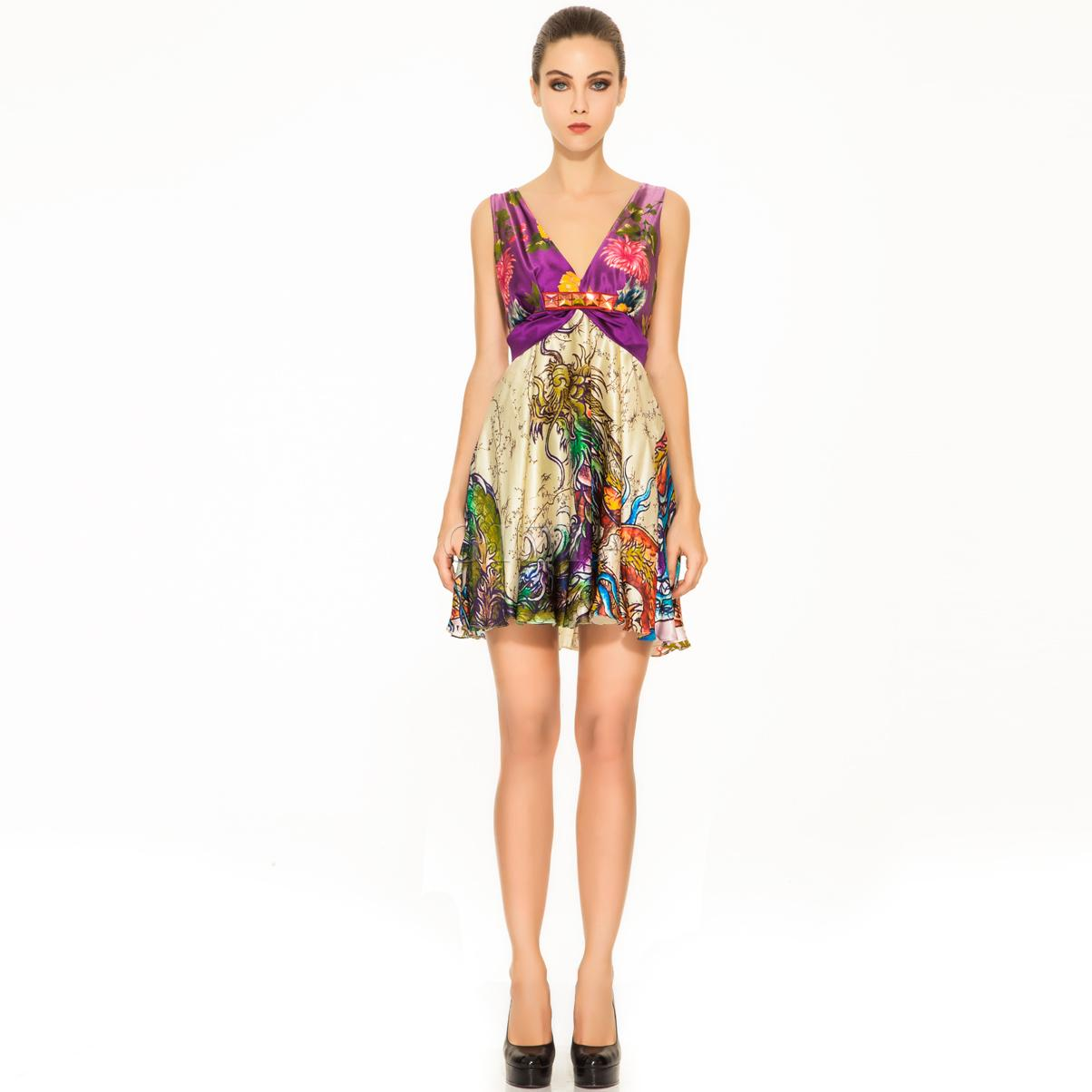 Gizia Desenli Kısa Elbise
