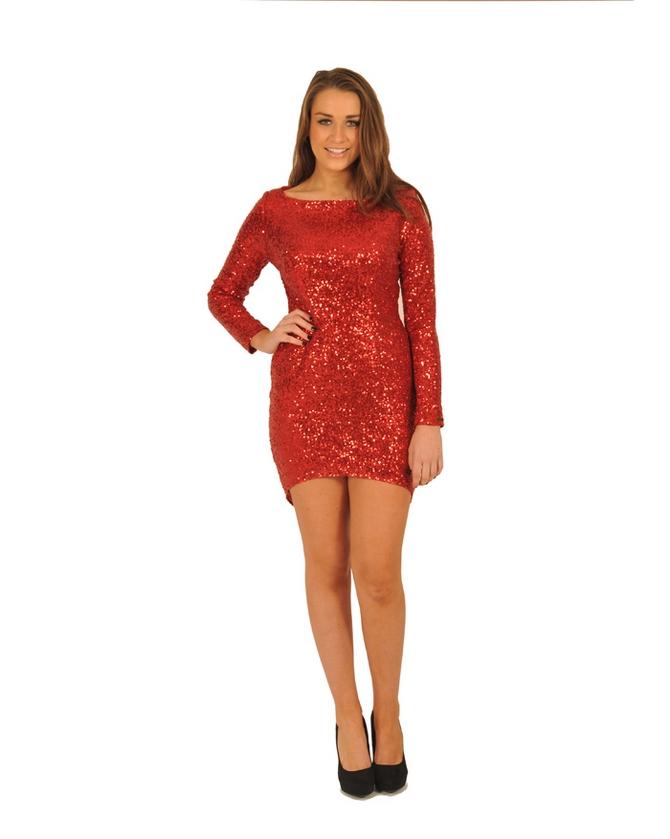 Mango kırmızı payetli elbise