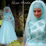 Mavi Tesettür Nişan Elbisesi