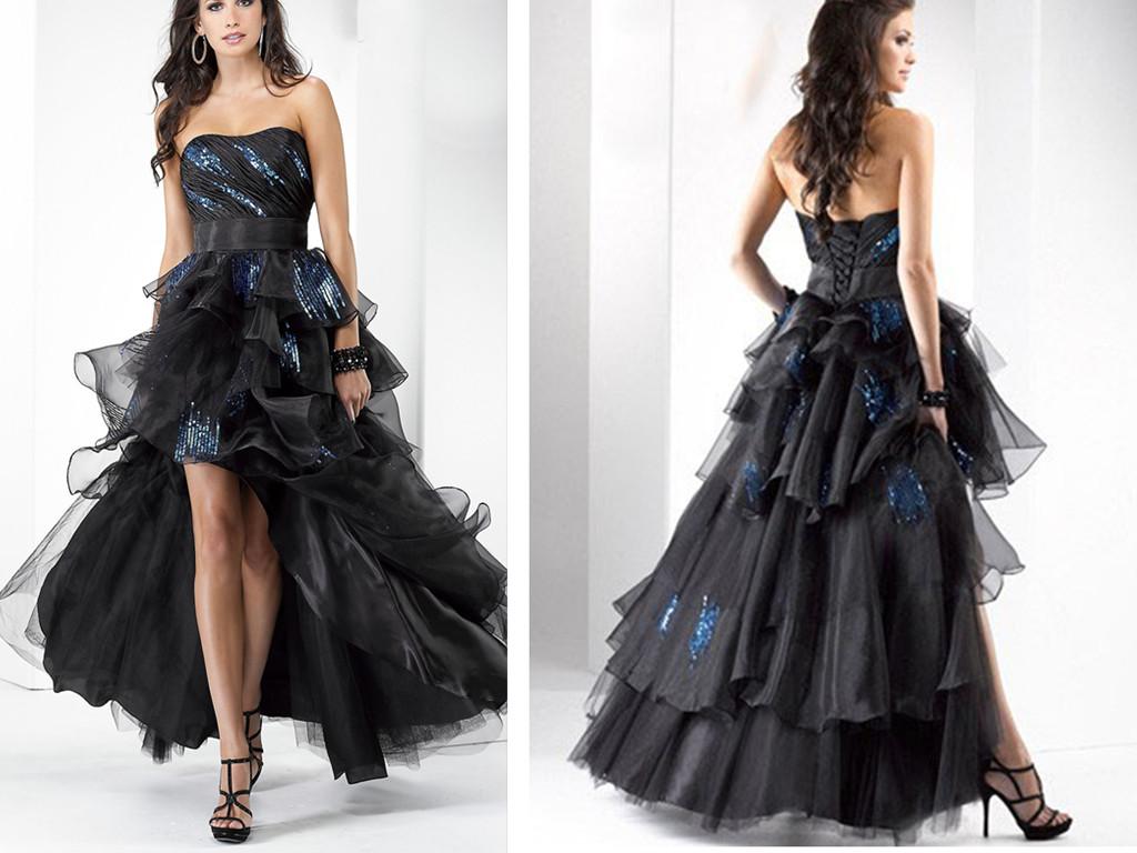 Parlak Önü Kısa Siyah Elbise