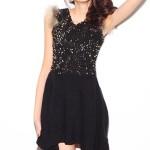 Siyah kısa payetli elbise