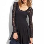 Siyah uzun kol dantelli elbise