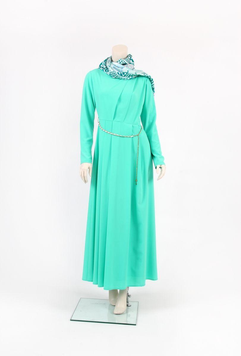 Tekbir giyim su yeşili elbise