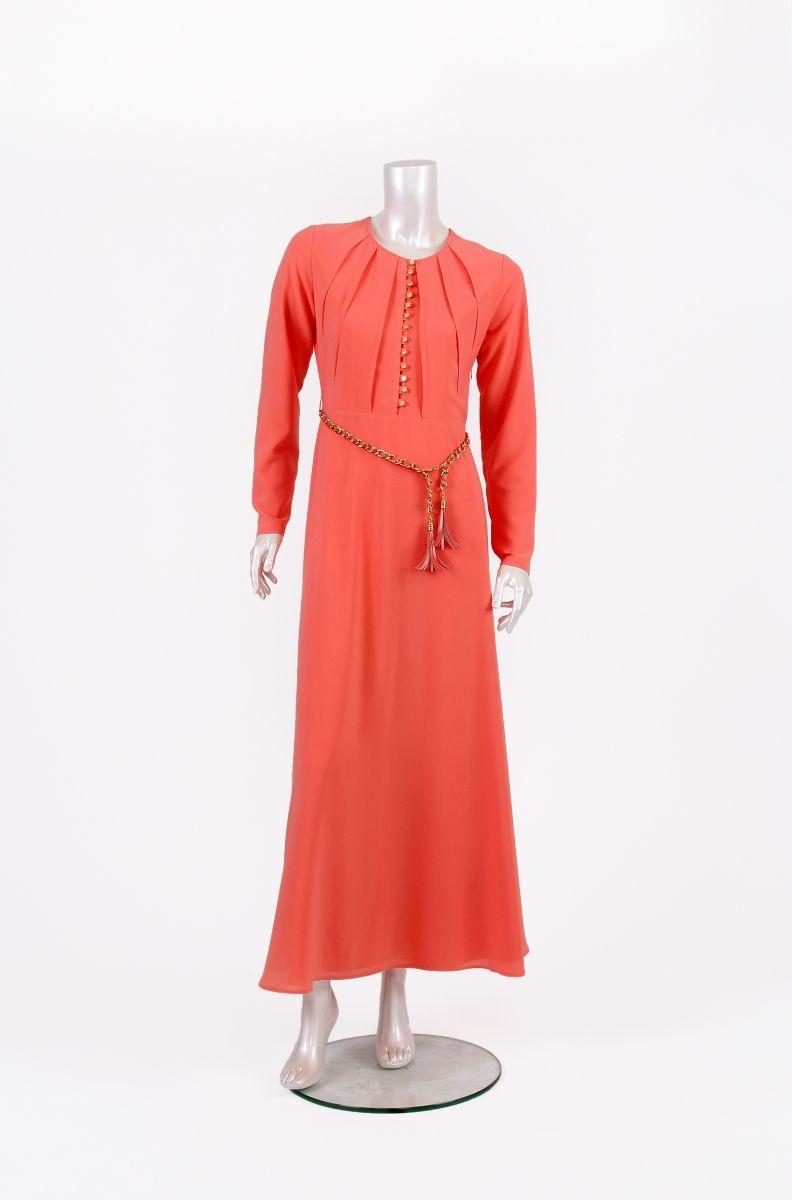 Tekbir giyim turuncu tesettür elbise