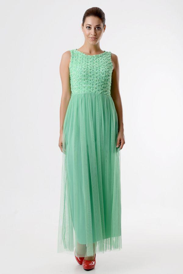 Tozlu giyim su yeşili uzun abiye