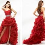 Tüllü Önü Kısa Kırmızı Elbise