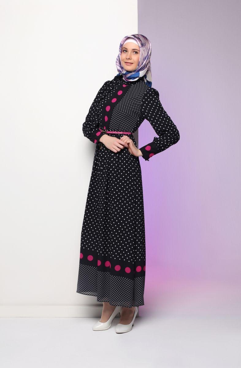 Uzun tesettür elbise modeli