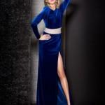mavi kadife elbise