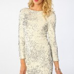 Beyaz pullu payetli elbise