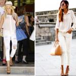 Dar paça beyaz pantolon