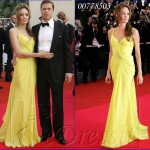 Kırmızı Halı Boydan Sarı Elbise