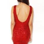 Kırmızı kısa payetli elbise