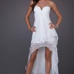 Önü Kısa Arkası Uzun Beyaz Elbise