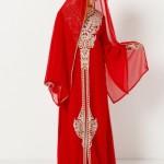 Tesettür Giyim Kırmızı Nişanlık Kıyafet