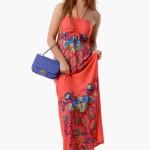 Uzun Çiçek Desenli Elbise